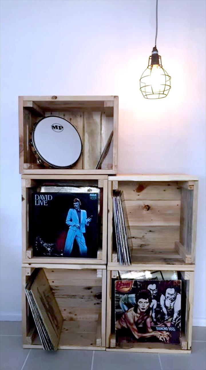 Pallet Crate Shelf Unit - 30+ Easy Pallet Ideas for the Home   Pallet Furniture DIY - Part 5