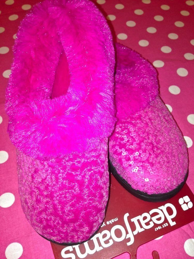 New m women\'s dearfoams house spa soft fuzzy plush pink bling ...