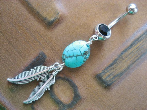 Belly Button Jewelry- Turquoise Feather Black Dream Catcher Navel Piercing Ring Bar Barbell Native American Tribal. $12.50, via Etsy.