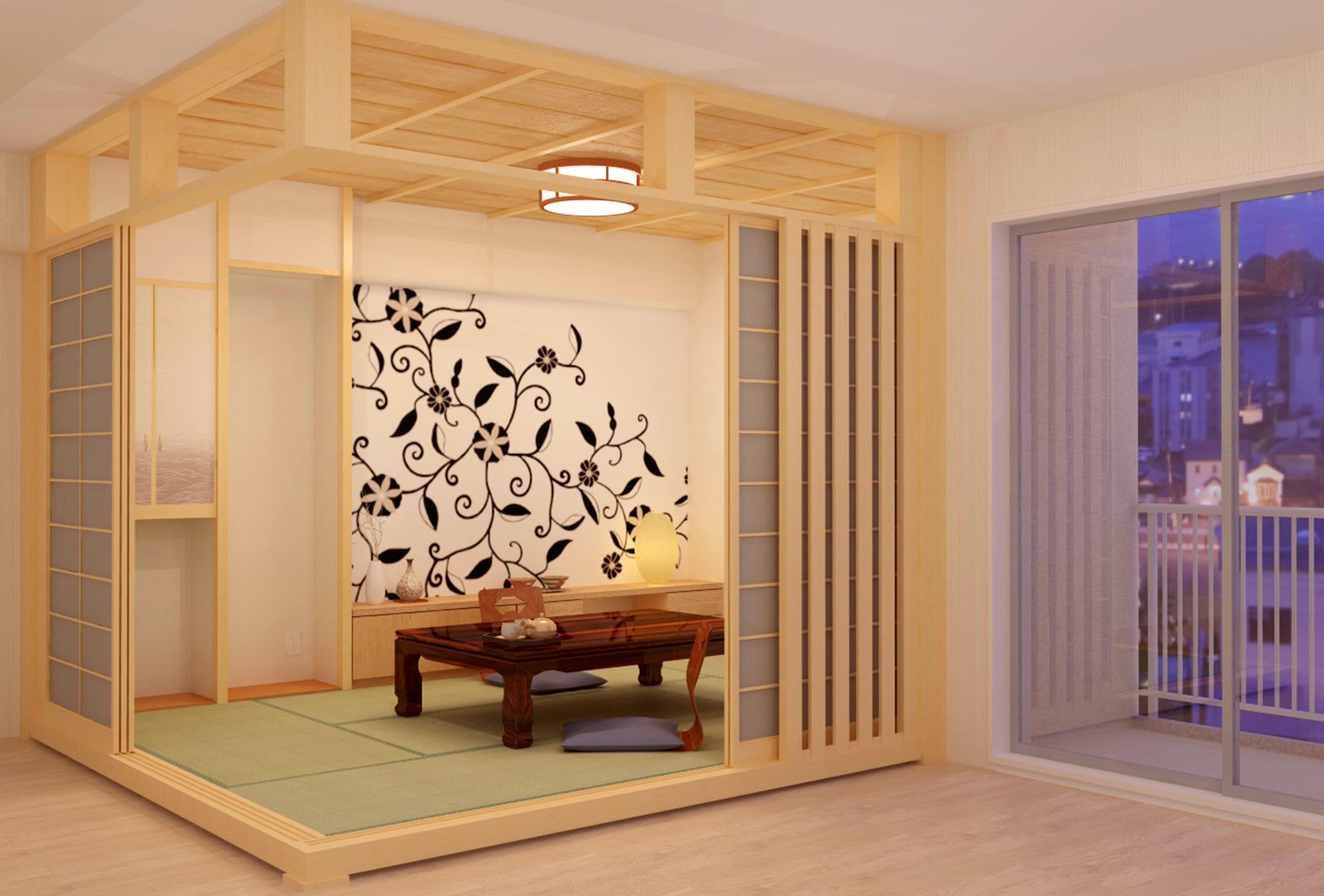 マンションリフォーム和室壁紙パース1 和室 パース クロス 壁紙