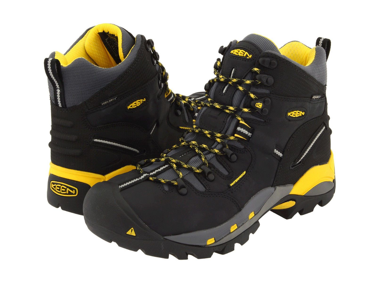 Keen Utility Mens PITTSBURGH Black/Yellow Leather Steel Toe Work ...