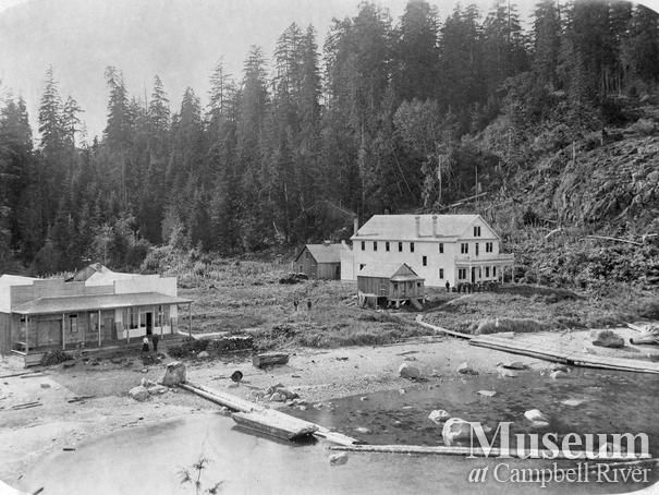 View of Rock Bay showing hospital and camp (1904) Photographer: Henry Twidle.  Mrs. Marion Adams Collection - CR Museum