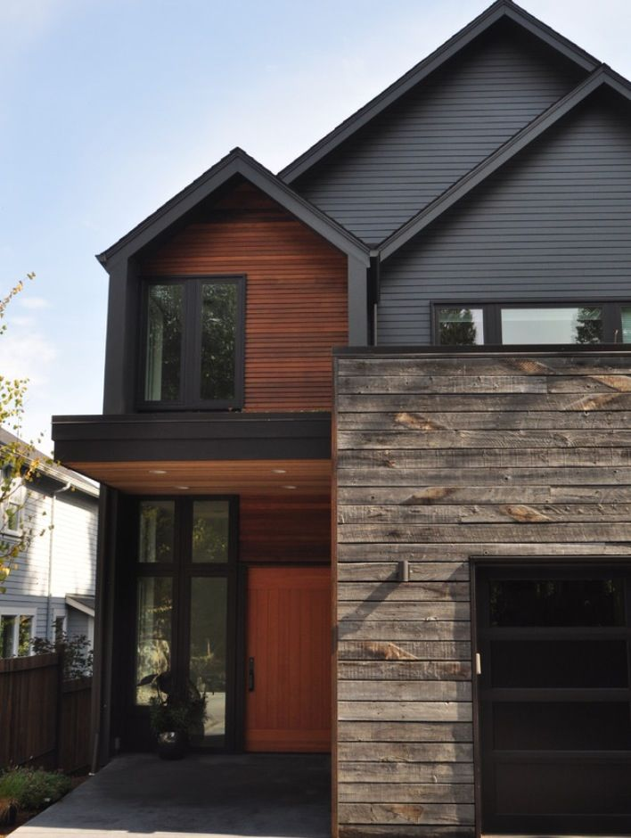 Distressed wood exterior on facade. | Paths & patios ... on Modern Siding Ideas  id=94498
