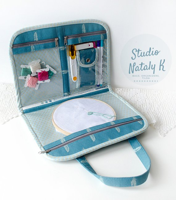 Teal scissors case and project bag with vinyl pocket for