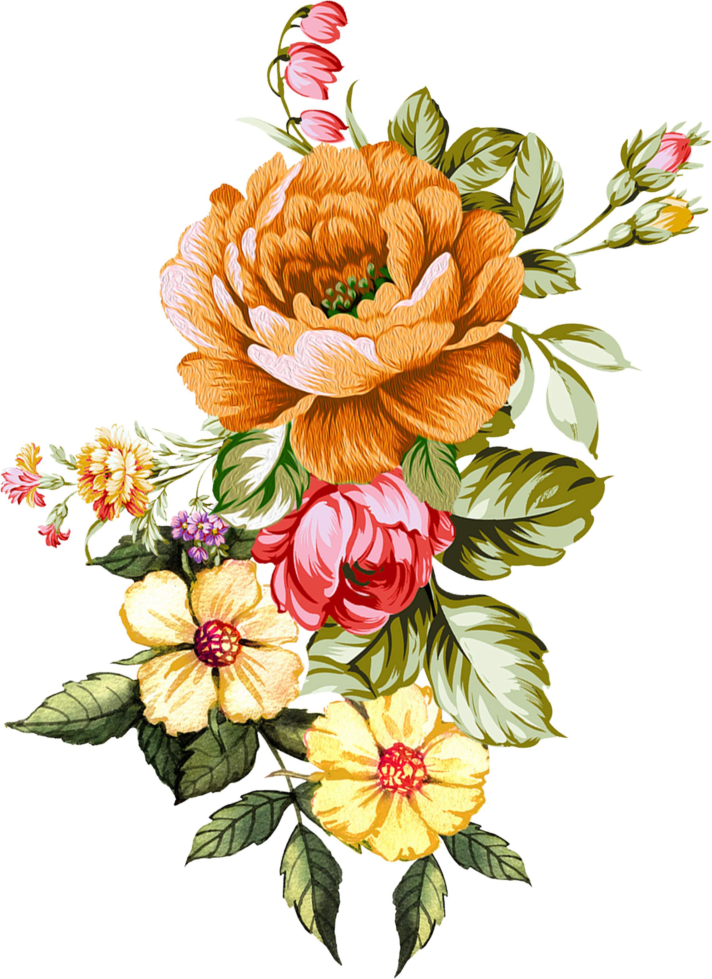 Pin By Umair On Umair Bunch Of Flowers Drawing Digital Flowers Flower Art Painting