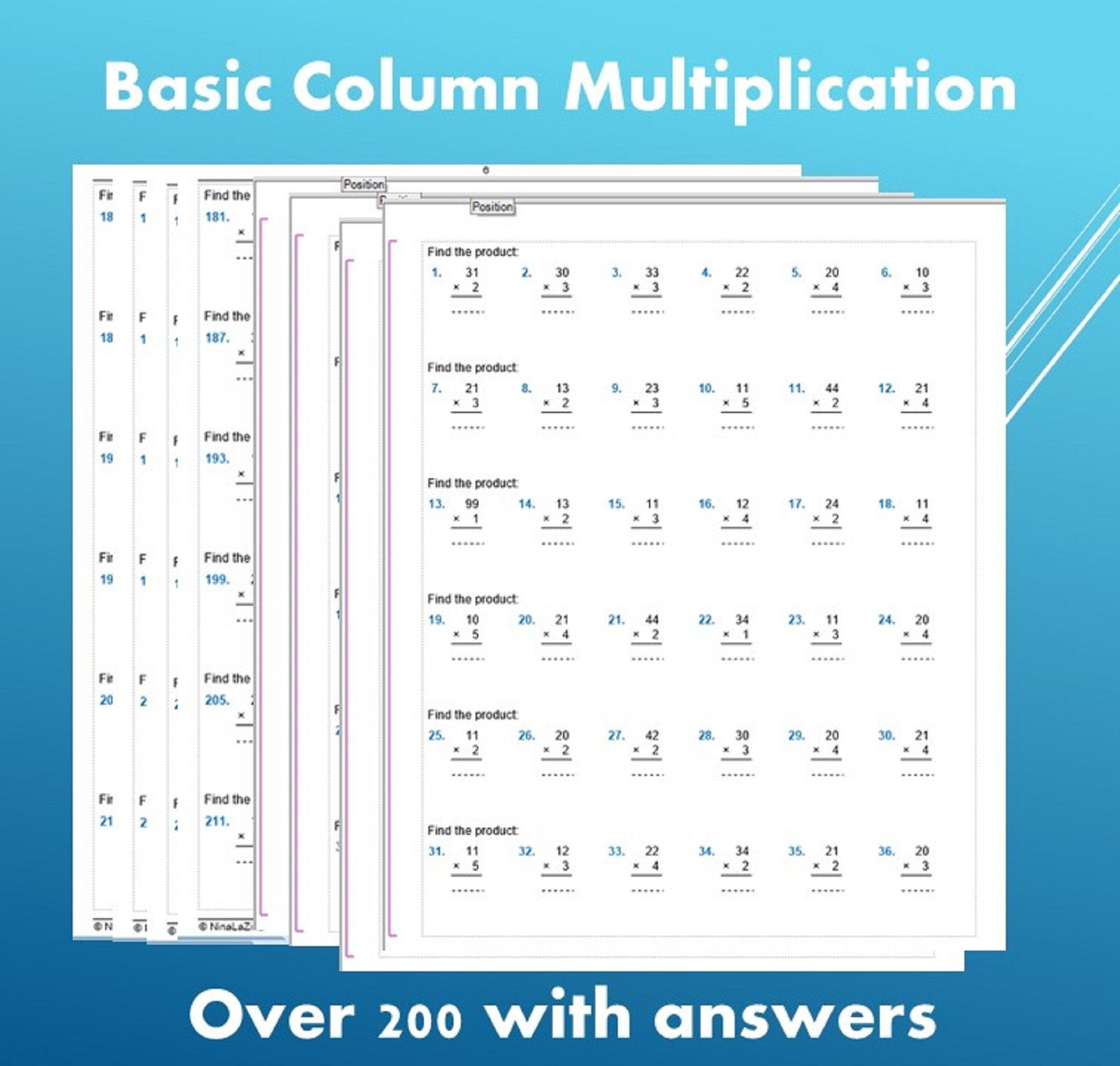 Math Drill Printable Multiplication Worksheets 2 Digit By