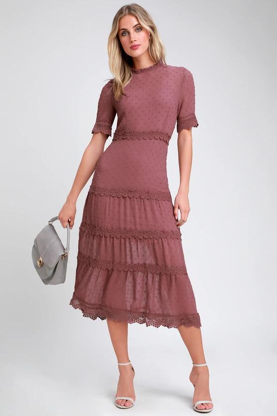 Dreaming Of You Mauve Purple Swiss Dot Midi Dress Floral Print Midi Dress Midi Dress Midi Dress Sleeveless