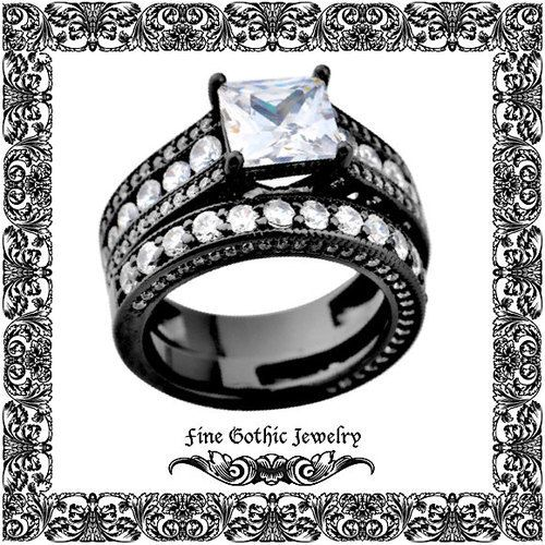 gothic wedding rings black wedding ring 2ct white princess diamond httpblackdiamond - Wedding Ringscom