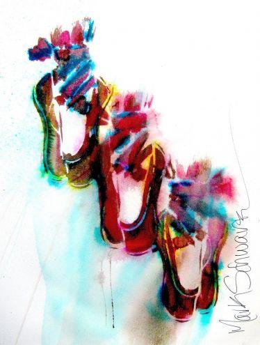 BALLET X THREE - MARK SCHWARTZ, painting by artist Mark Schwartz