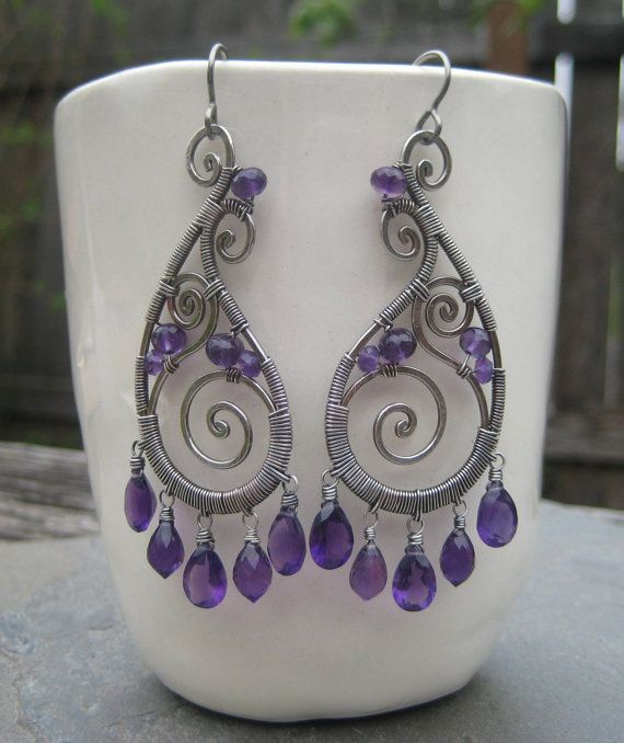 Amethyst Silver Spiral Paisley Earrings by LizGrantDesigns on Etsy, $239.00
