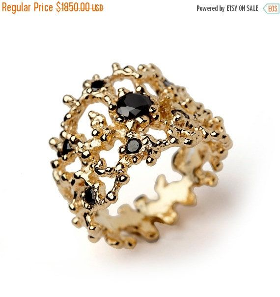 SALE CORAL Black Diamond Ring 14k Yellow Gold with Black Diamond