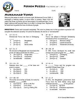 person puzzle factoring ax2 bx c muhammad yunus worksheet