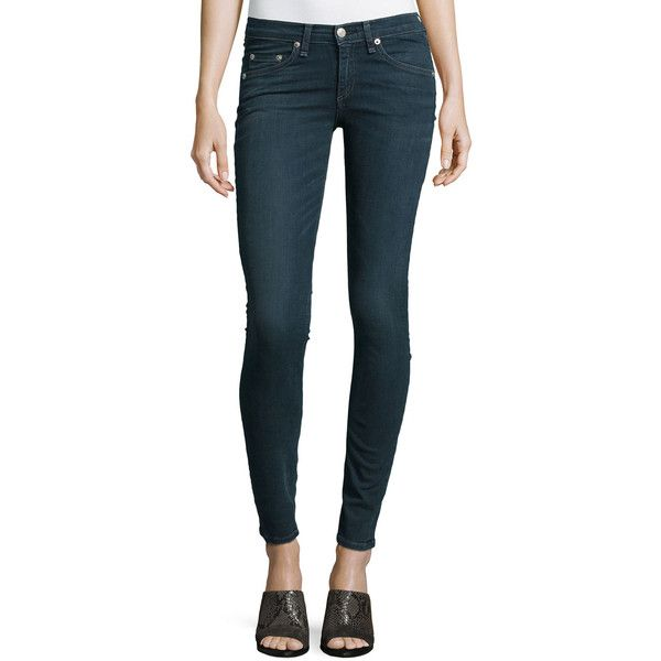 rag & bone/JEAN Low-Rise Skinny-Leg Jeans (1.825 NOK) ❤ liked on Polyvore featuring jeans, richmond, low rise jeans, fitted skinny jeans, fitted jeans, low rise skinny jeans and skinny jeans