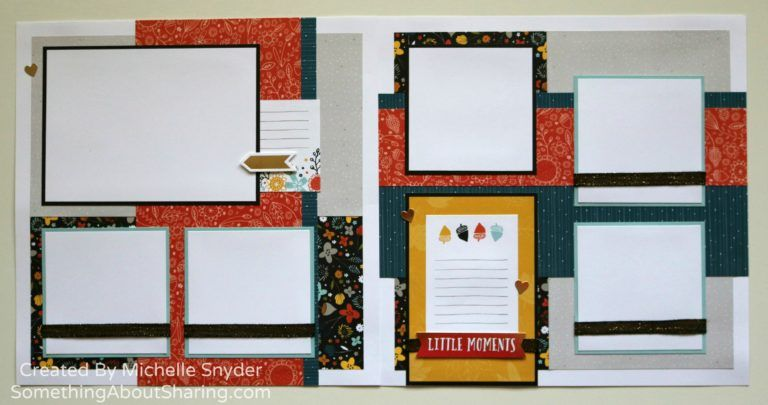 Scrapbook layouts for the little moments of fall. Love the acorns, gold foil accents, and black shimmer ribbon. #SomethingAboutSharing #fallscrapbooklayouts #ctmhswanlake
