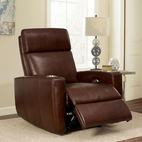 Graham Top Grain Leather Media Recliner Basement