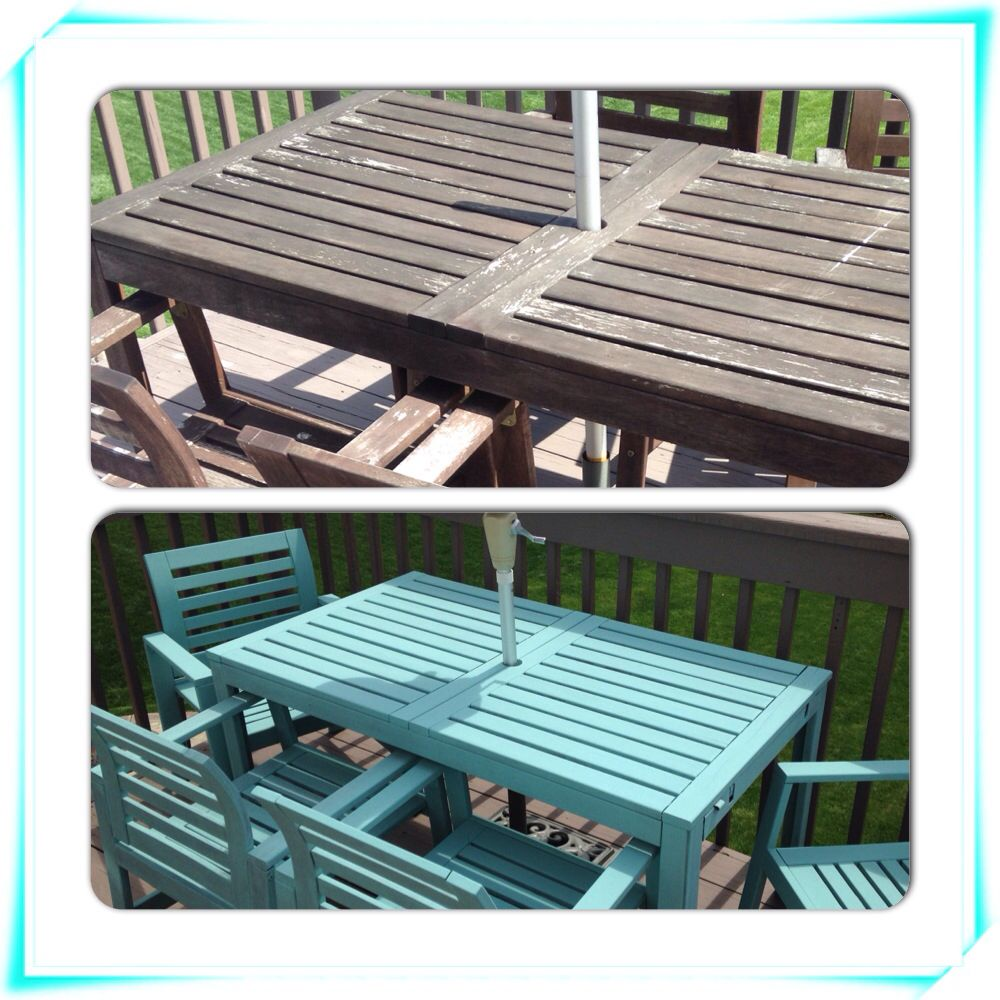 Before and after outdoor table and chairs painted with Annie Sloan