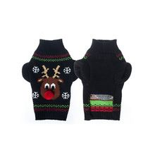 Christmas Reindeer Style Pet Dog Puppy Knit Sweater Knitwear Clothing Cat Puppy Coat Jacket Jumper Clothes - Size S M L(Black)(China (Mainland))
