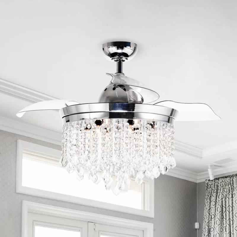 House Of Hampton 42 Huddleston 3 Blade Crystal Ceiling Fan With Wall Control Wayfair In 2020 Ceiling Fan Chandelier Chandelier Fan Led Ceiling Fan