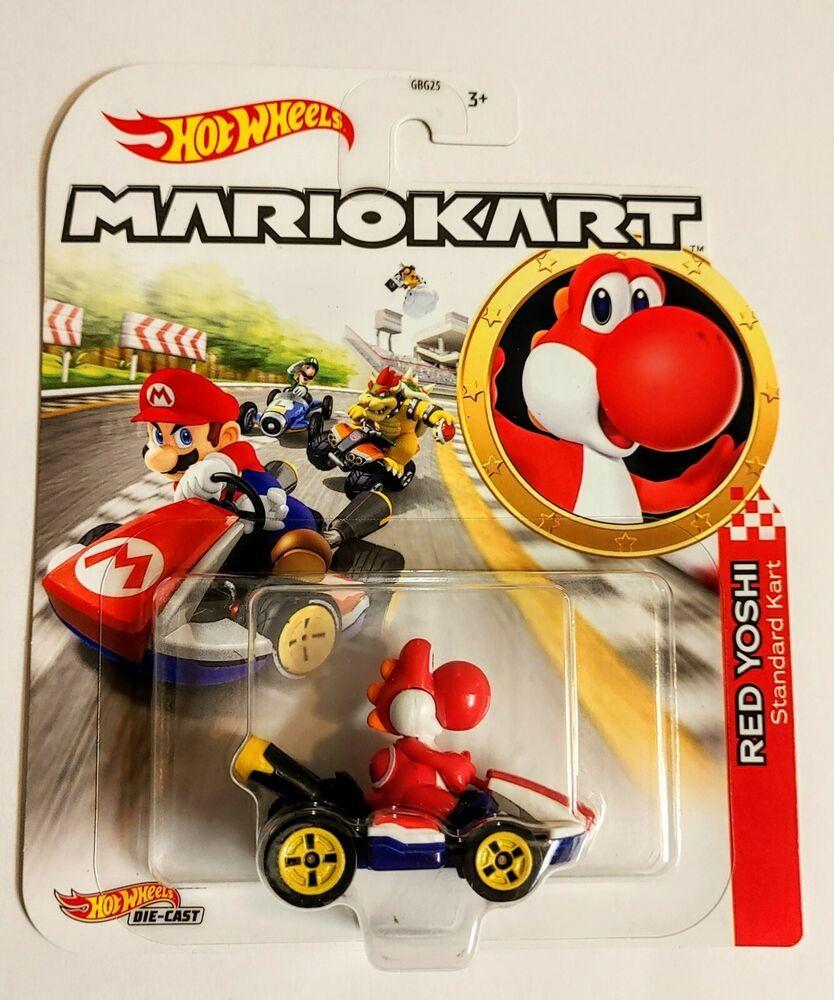 Hot Wheels Die Cast Mario Kart Red Yoshi Standard Kart New Hotwheels In 2020 Hot Wheels Display Case Hot Wheels Hot Wheels Display