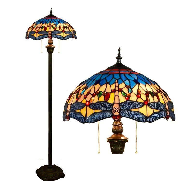 European dragonfly stained glass floor lamp for dining