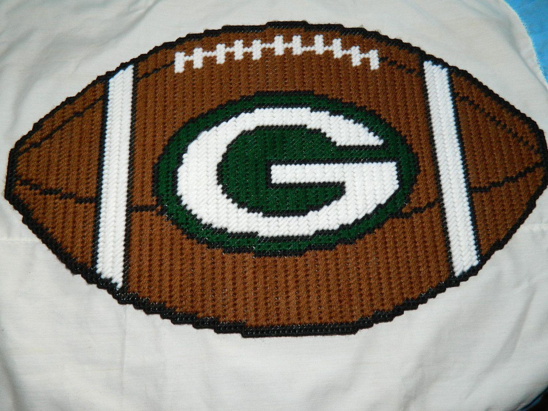 Handmade Plastic Canvas Greenbay Packers Football Wall