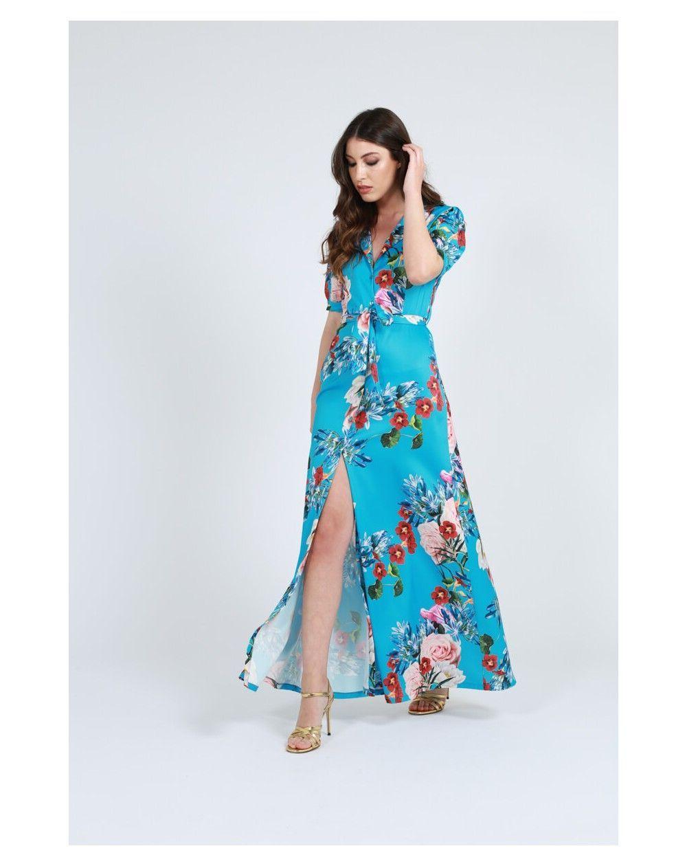 b5722467 Vestido largo con botones en la camisa y con estampado de flores y falda  abierta en color amarillo, blanco o turquesa.