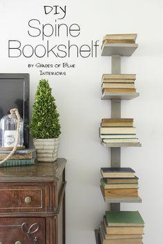 Diy Spine Bookshelf Bookshelves Diy Diy Bookshelf Design