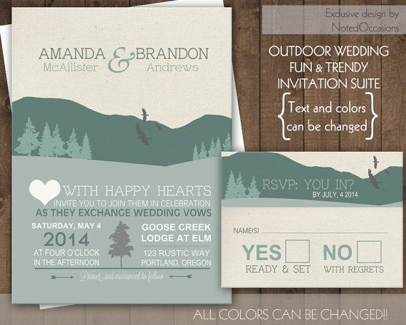 Outdoor Themed Wedding Invitations: Mountain Wedding Invitation Set