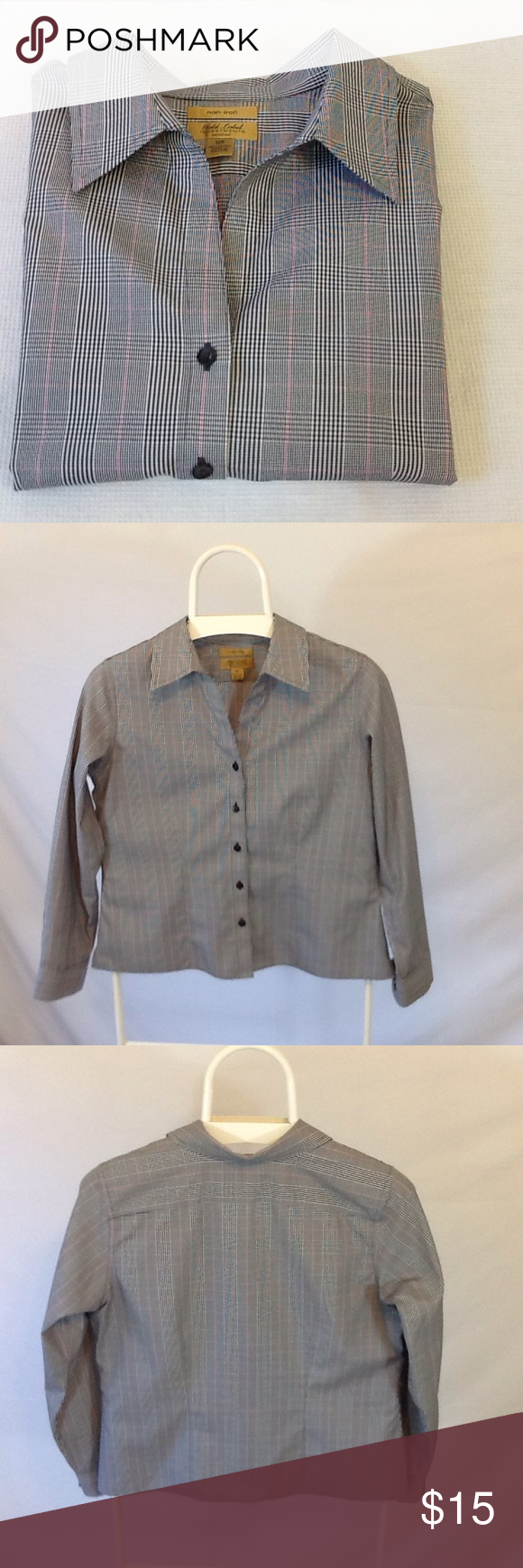 604fa9d2cf8 Roundtree and Yorke Women s Front Top Blouse Roundtree and Yorke s Gold  Label Investment non-iron long sleeve front top blouse in excellent  pre-owned ...