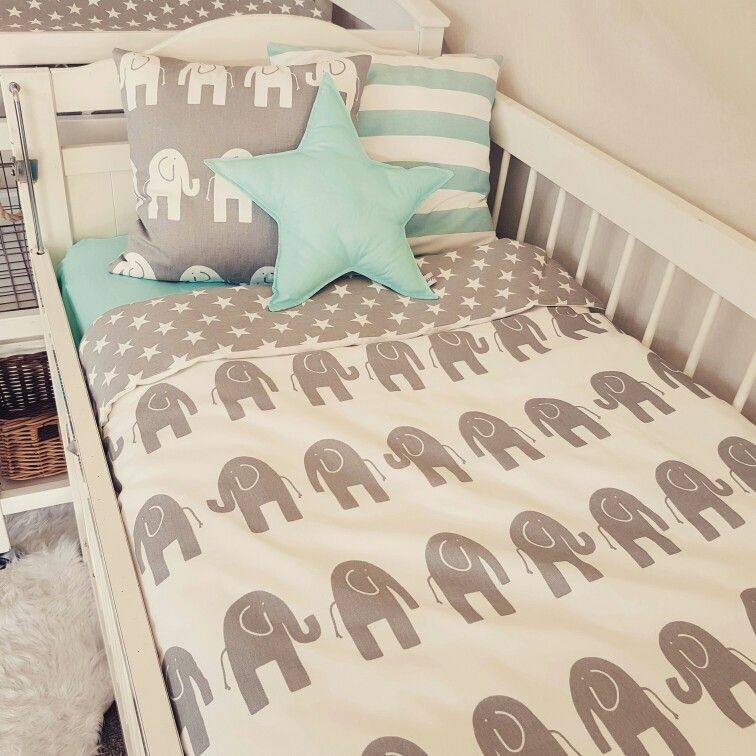 Poppy Cotton Baby Cot Bedding Cot Quilt With Elephants