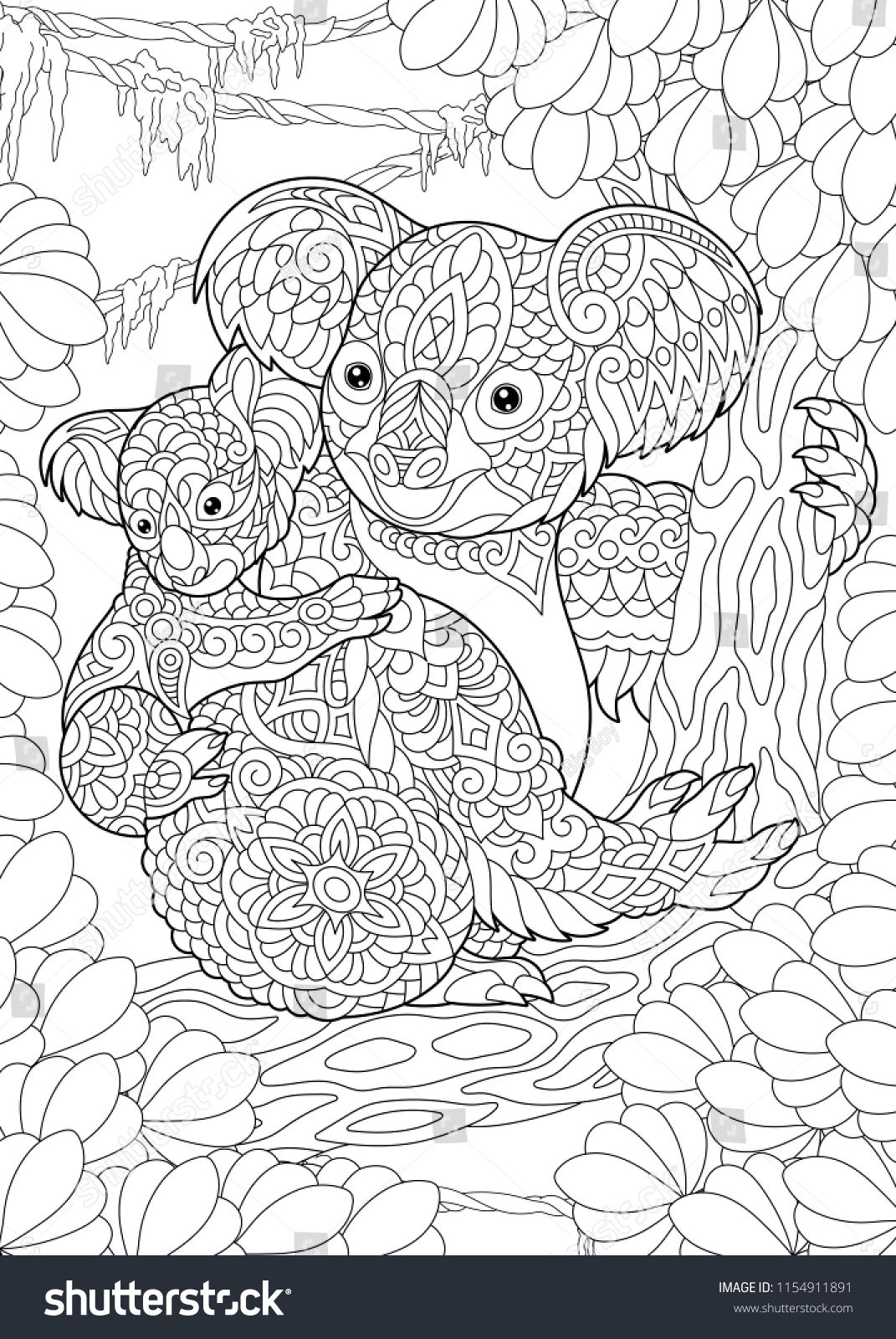 Coloring Page Coloring Book Colouring Picture With Koala Bears Antistress Freehand Sketch Drawing Animal Coloring Books Animal Coloring Pages Coloring Books