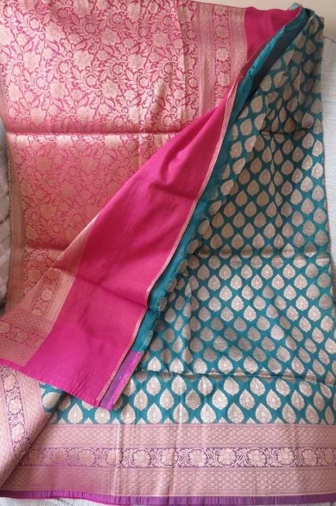 0dbdde6bd3 Teal BlueBenarasi/Opara Silk Katan saree with ZARI WORK #Unbranded  #Sareesari