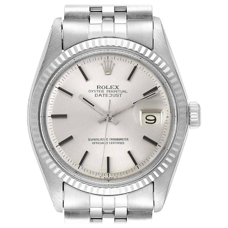 Rolex Datejust Steel White Gold Silver Dial Vintage Men's Watch 1601 #rolexdatejust