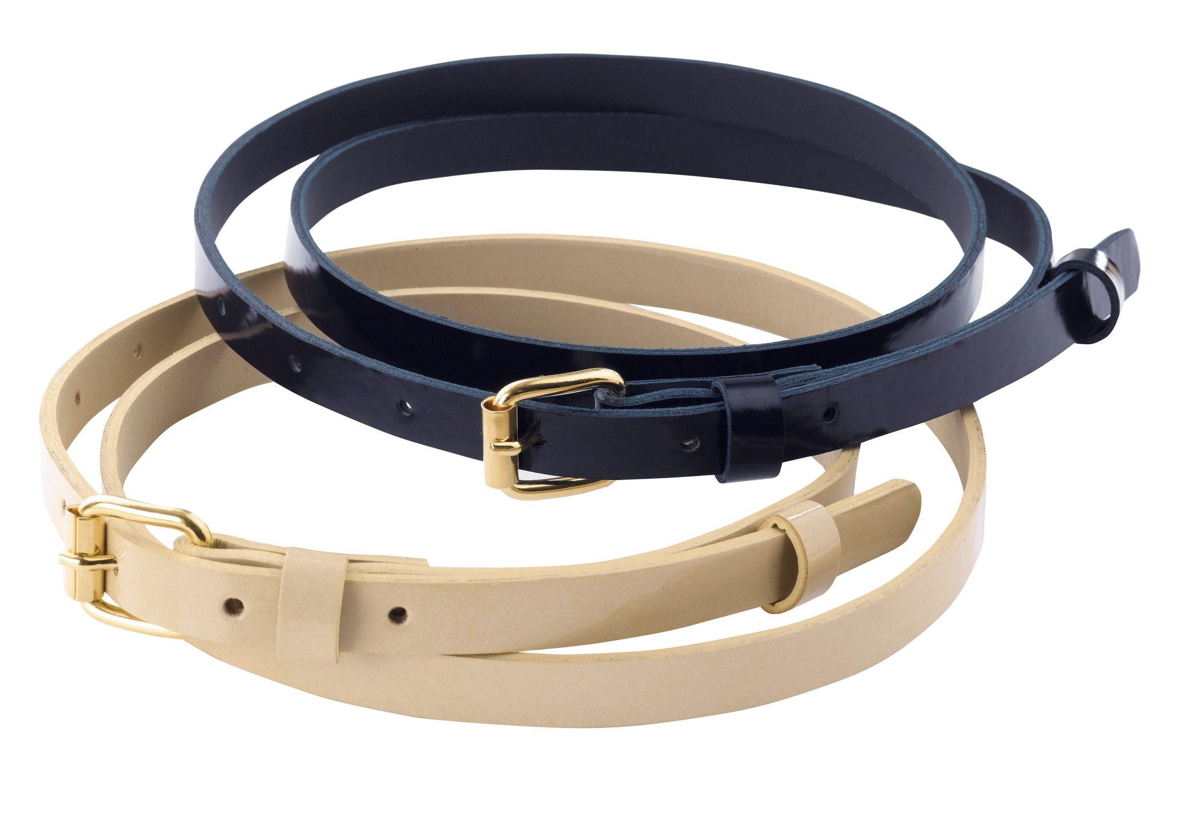 Simple ladies' fashion belt with gold buckle which ...