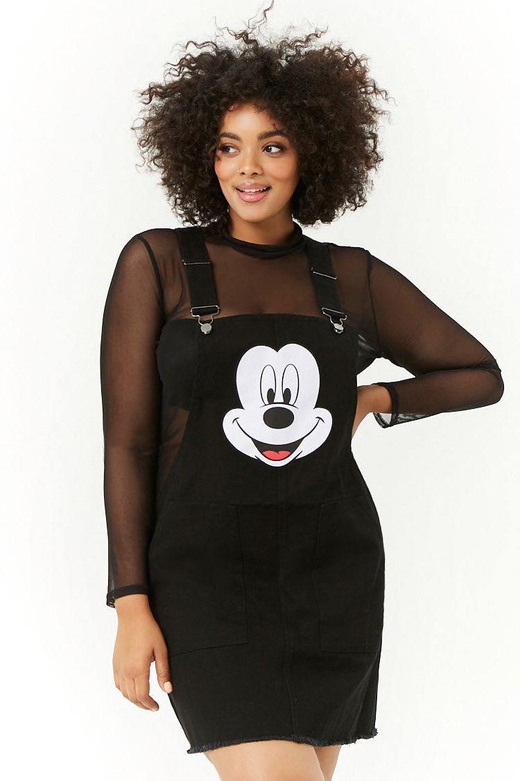 Plus Size Mickey Mouse Overall Dress In Black Forever 21