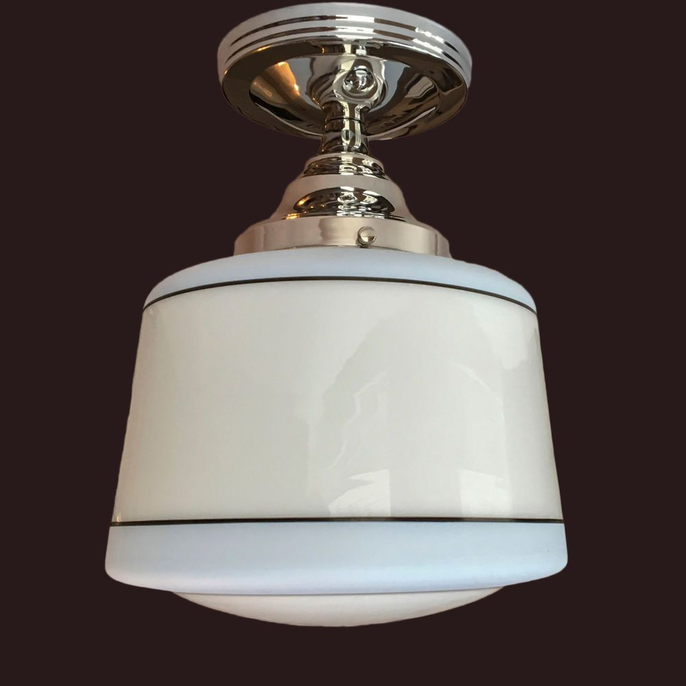 Milk glass shade vintage 1930s art deco ceiling light fixture skyscraper globe