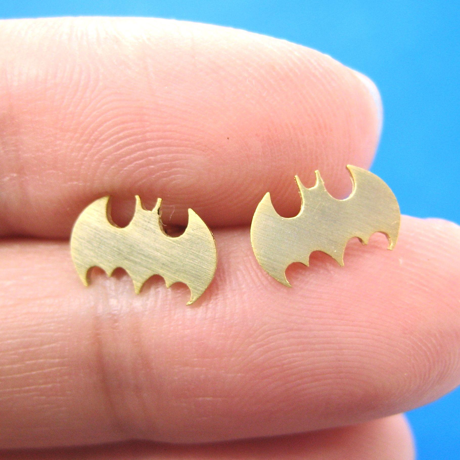 bat silhouette symbol batman logo stud earrings in gold allergy