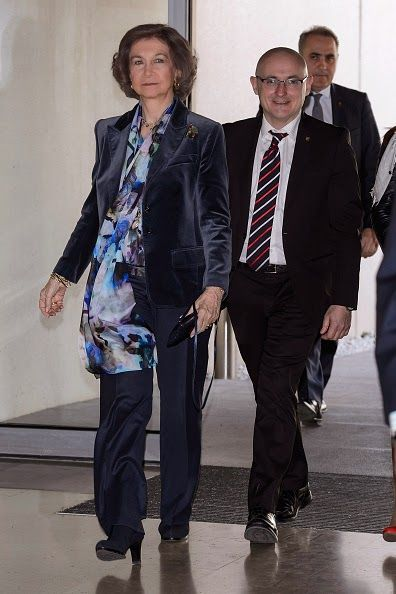 Queen Sofia of Spain (L) and Carlos III Institute Director Antonio Adreu (R) visits 'Reina Sofia Alzheimer Foundation Center' on 9.02.2015 in Madrid, Spain