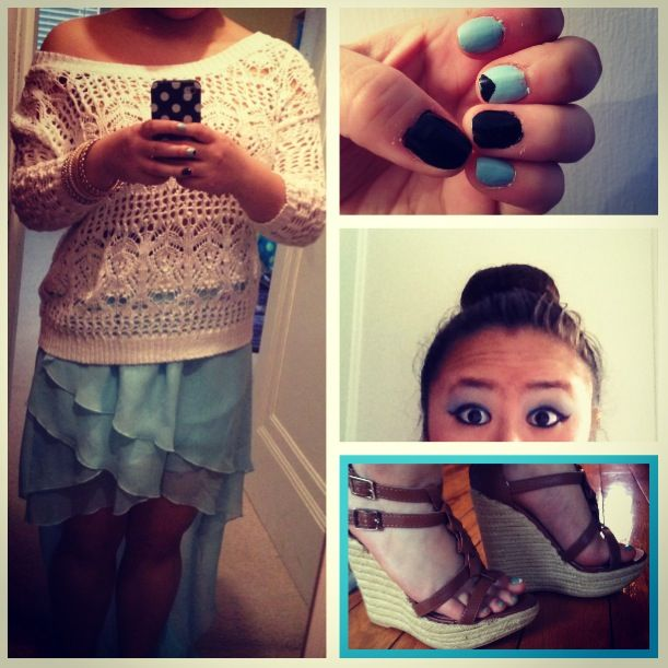 Sock Bun, Sweater, Hi-Lo Skirt, and wedges.....all purchased at Charlotte Russe