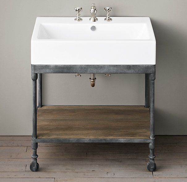 Dutch industrial single console 1299 console 31 w x 18 d x 34 h console base 31 w x 18 for Single sink consoles bathroom