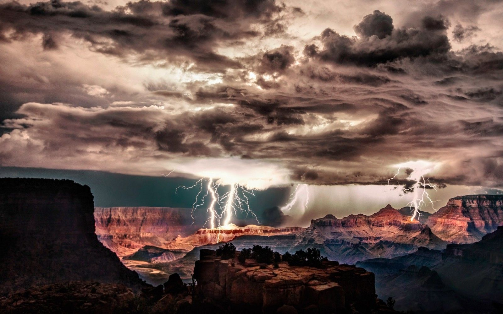 download hd wallpapers of 211806-grand canyon, lightning, storm