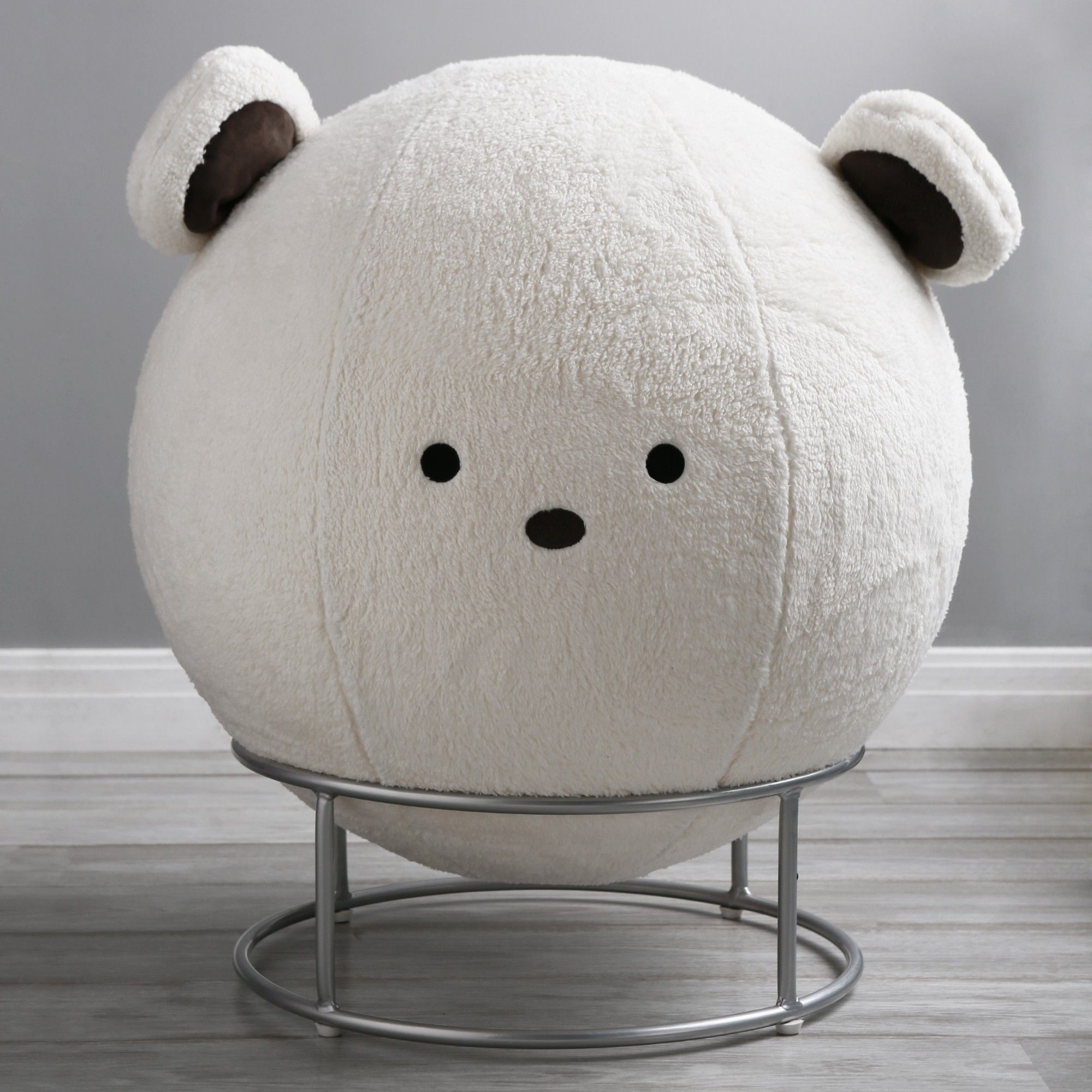 Faux Fur Yoga Ball Chair Sherpa Bear