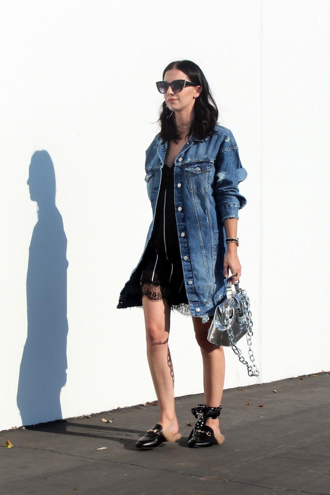 slip dress. oversized denim jacket. gucci loafers. street style ...