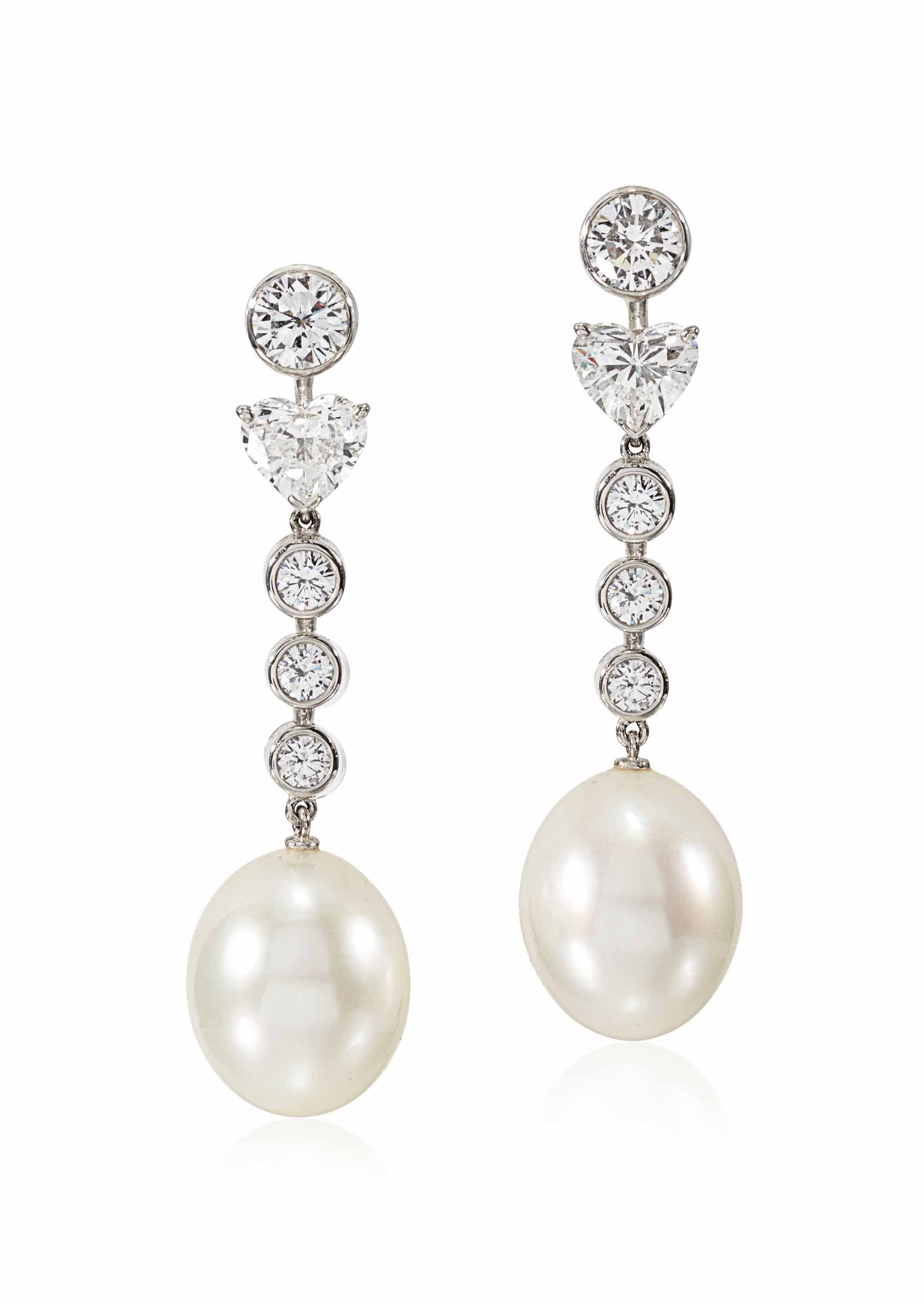 CULTURED PEARL AND DIAMOND CALIN EARRINGS CARTIER
