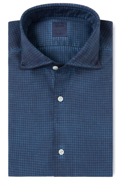 e4a0f52f COTTON TWILL SHIRT SOFT COLLAR CUSTOM FIT, Blue, medium | CASUAL SHIRTS