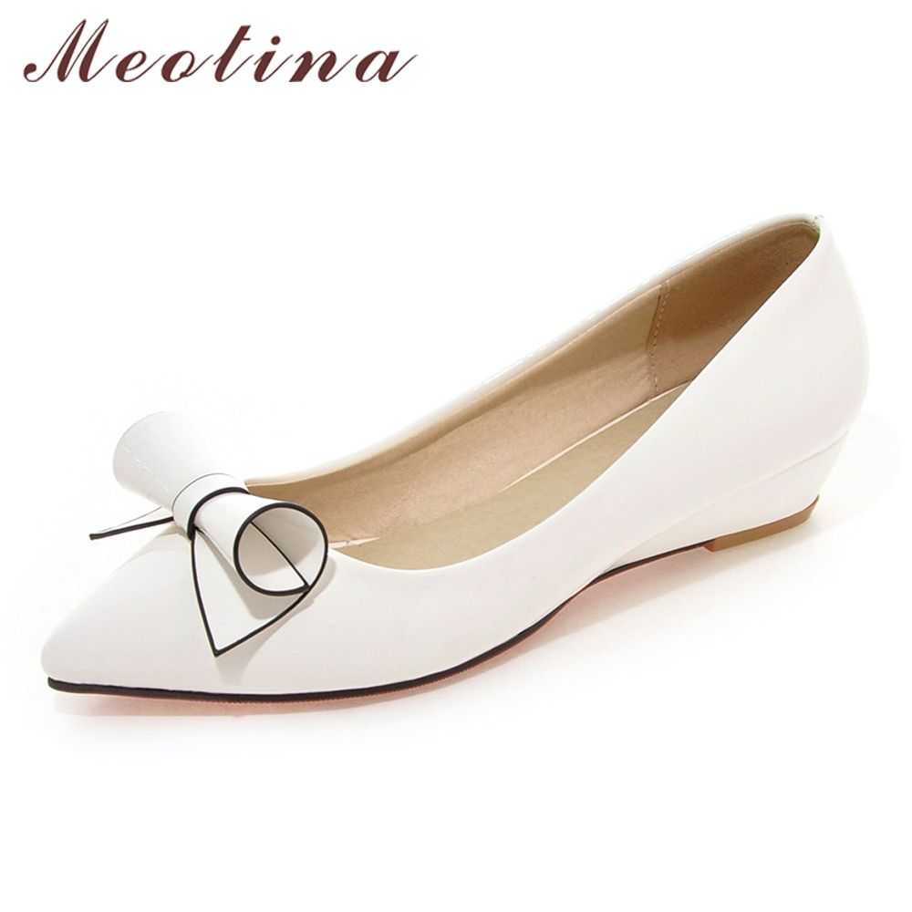26e54ba98380 Meotina Shoes Women Bow Low Heels Ladies Wedge Heels Bridal Shoes Patent  Leather Footwear Female White