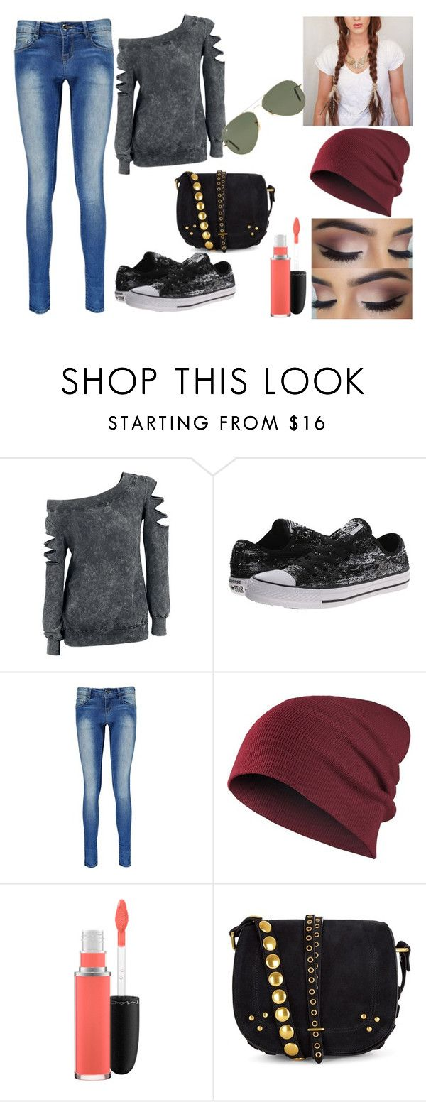 """""""Untitled #334"""" by nerdynerdy on Polyvore featuring Converse, Boohoo, MAC Cosmetics, Jérôme Dreyfuss, Ray-Ban, women's clothing, women, female, woman and misses"""
