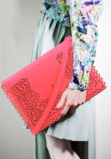 Eyelet Flap Clutch- Neon Pink - PU Leather Clutch Bag