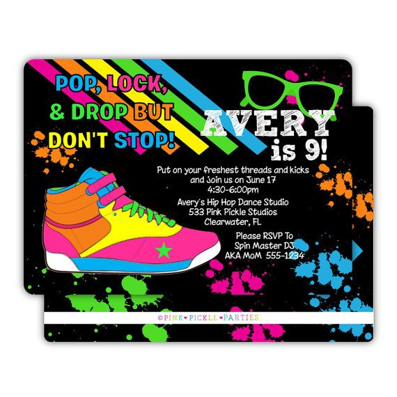 Hip Hop Invitation Hip Hop Party Dance Invitation Dance Party – Dance Party Invites