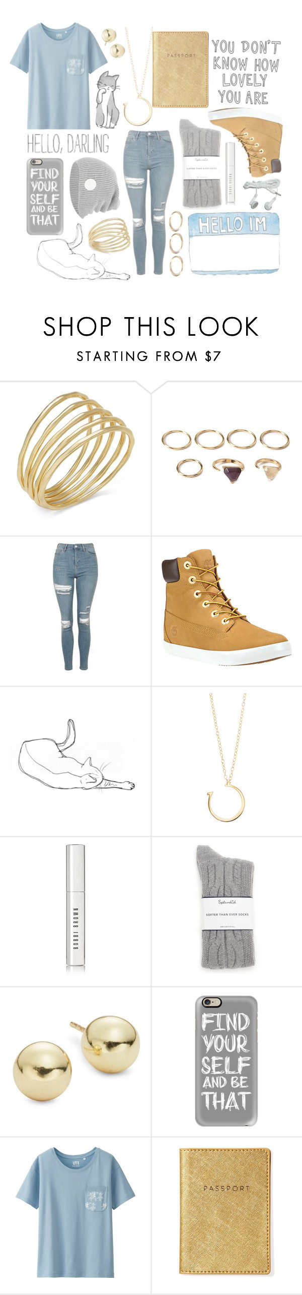"""""""Blue and grey"""" by winimae ❤ liked on Polyvore featuring Lauren Ralph Lauren, Forever 21, Topshop, Timberland, Jennifer Zeuner, Bobbi Brown Cosmetics, Splendid, Lord & Taylor, Casetify and Uniqlo"""